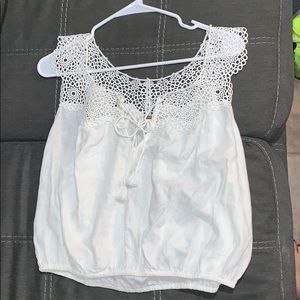 Free People Crop Top, White with Delicate Designs
